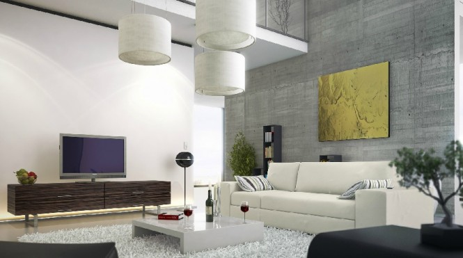 An industrial air is added to this modern living room with the exposure of a concrete wall, which stretches up two stories to a mezzanine level with glass balustrade.