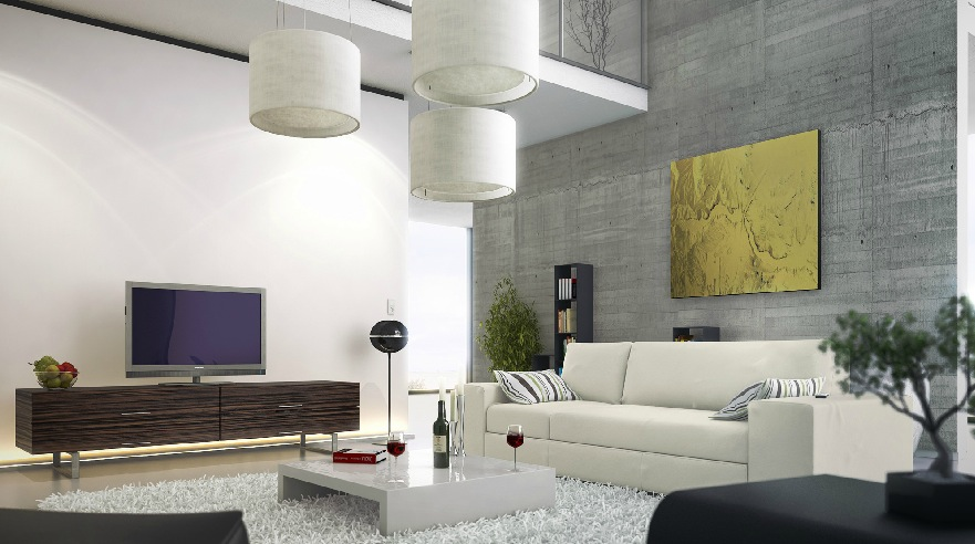 an industrial air is added to this modern living room with the exposure of a concrete