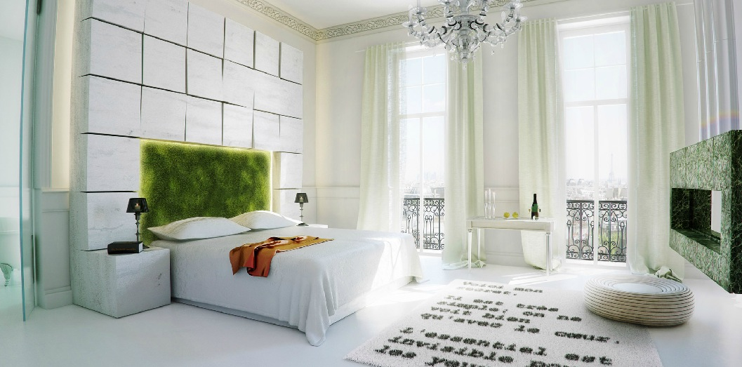 Nature inspired bedroom moss headboard interior design Nature bedroom
