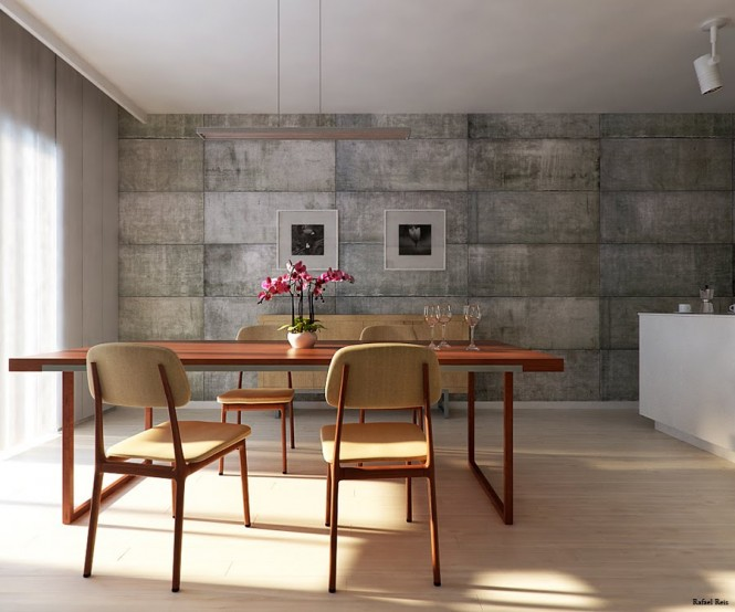 The furniture is kept simple and functional, and a series of concrete block walls brings a utilitarian feel to the space.