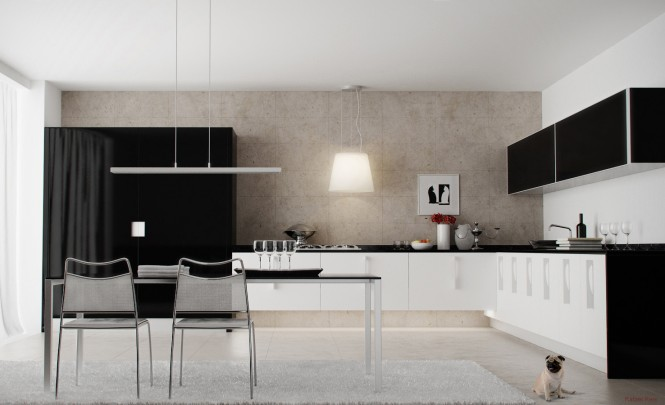 A monochrome look gives this kitchen strong lines, so the dining area and over table lighting have been kept simple to prevent the two areas from clashing.