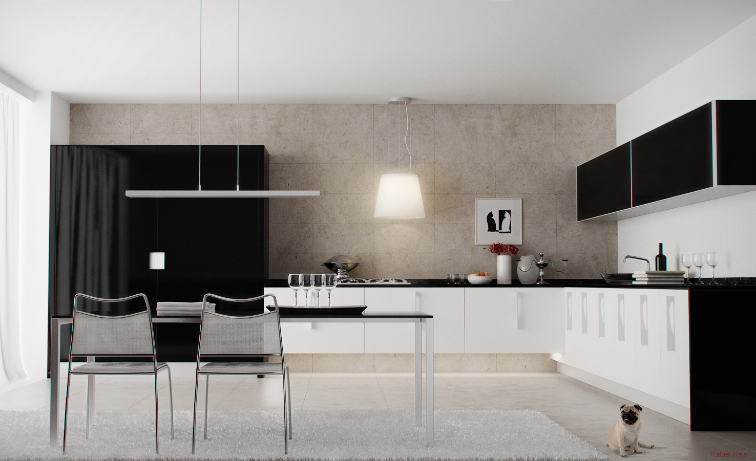 Black white kitchen diner interior design ideas for Black and white modern kitchen designs