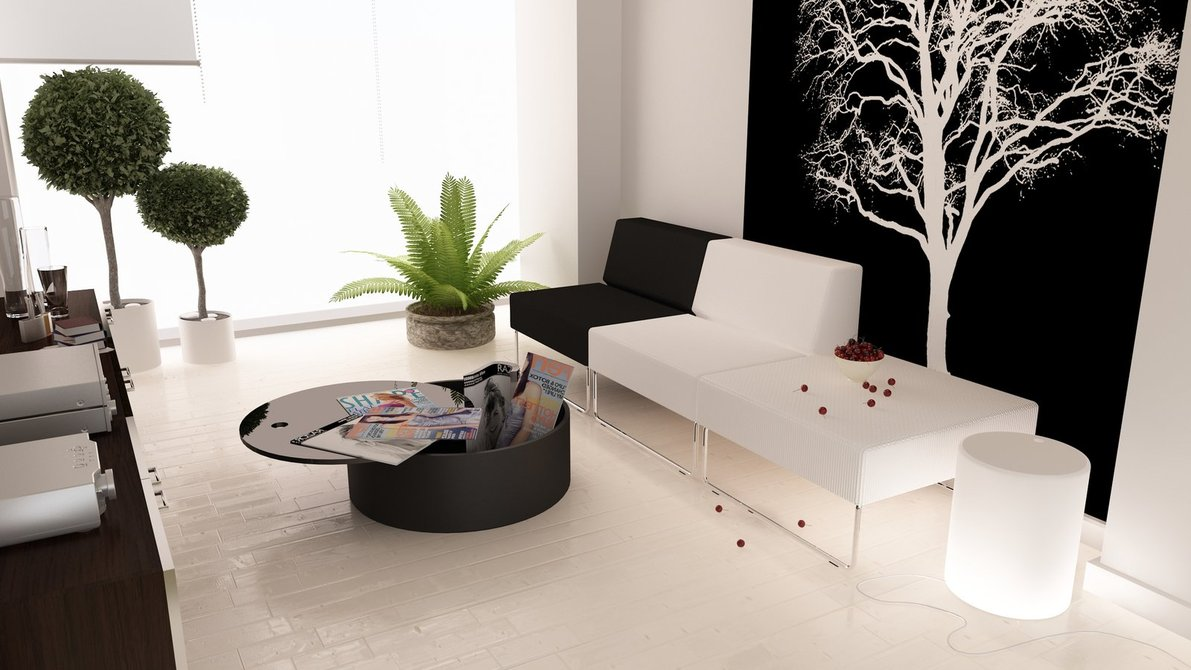 black white interiors - Black White Living Room Decor