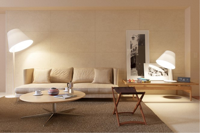 Islands of comfort are created with huge rugs.