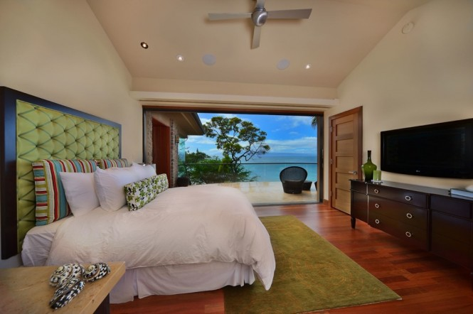 green brown bedroom beachside house