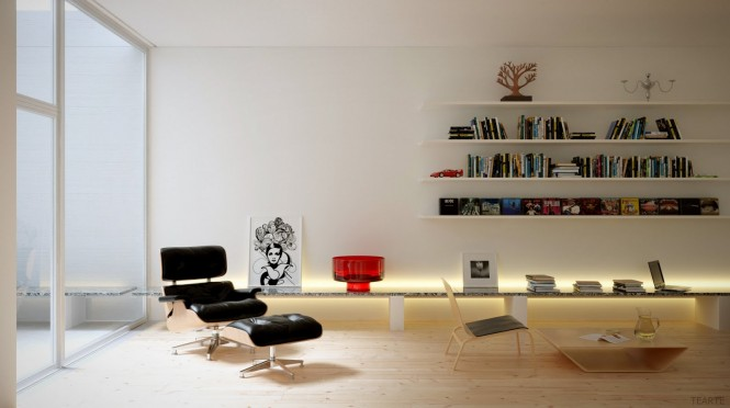 A leather recliner chair paired with footstool creates a zone in which relax with a choice