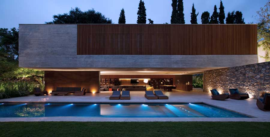 spectacular modern house with open design and adjacent pool - Pool House Designs Ideas