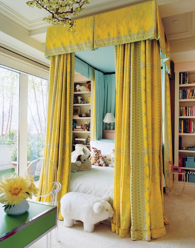 Yellow bed canopy. Via