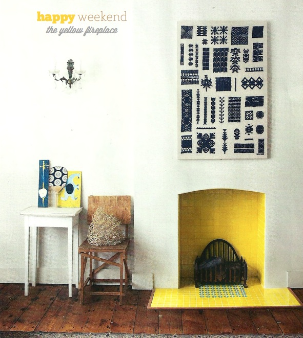 Yellow fireplace! Via