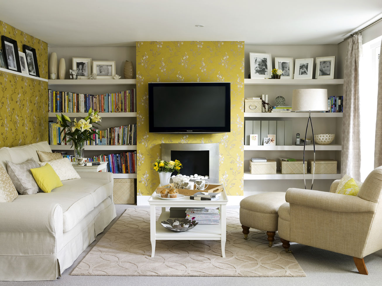 Yellow Wallpaper Living Room