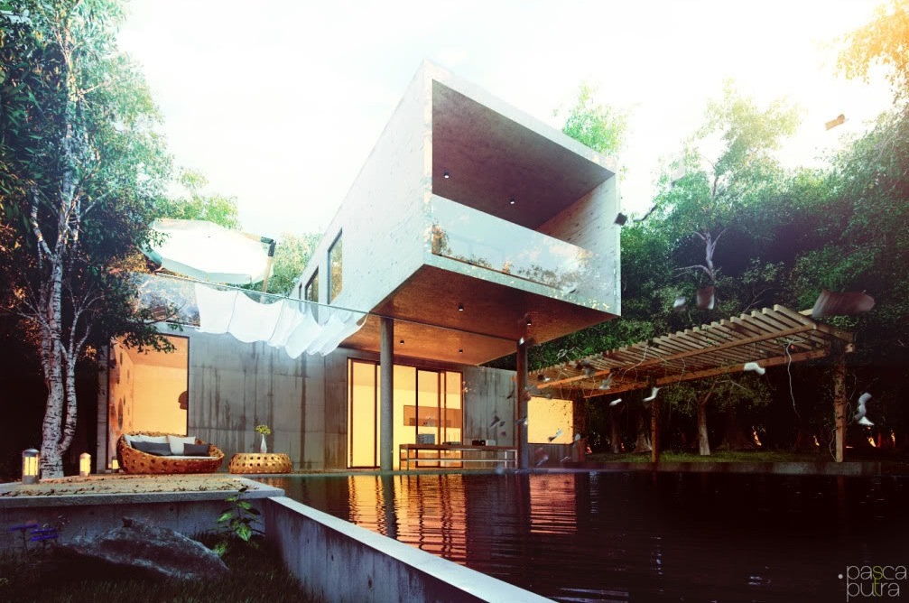 Contemporary exteriors in nature visualized for Contemporary home exterior