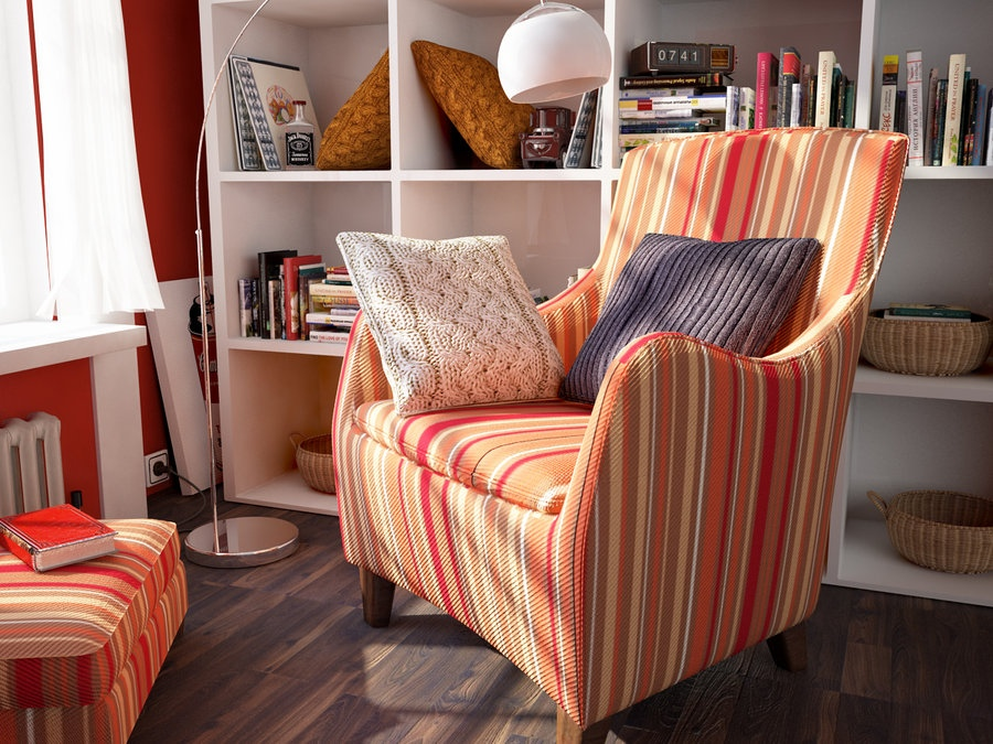 10 orange red striped chair | Interior Design Ideas.