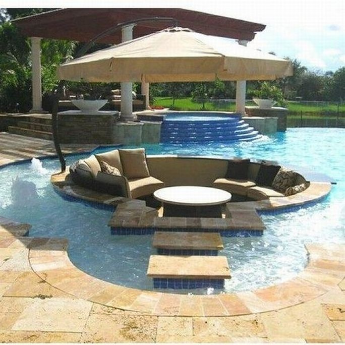 Backyard Swimming Spot : Conversation Pits & Sunken Sitting Areas