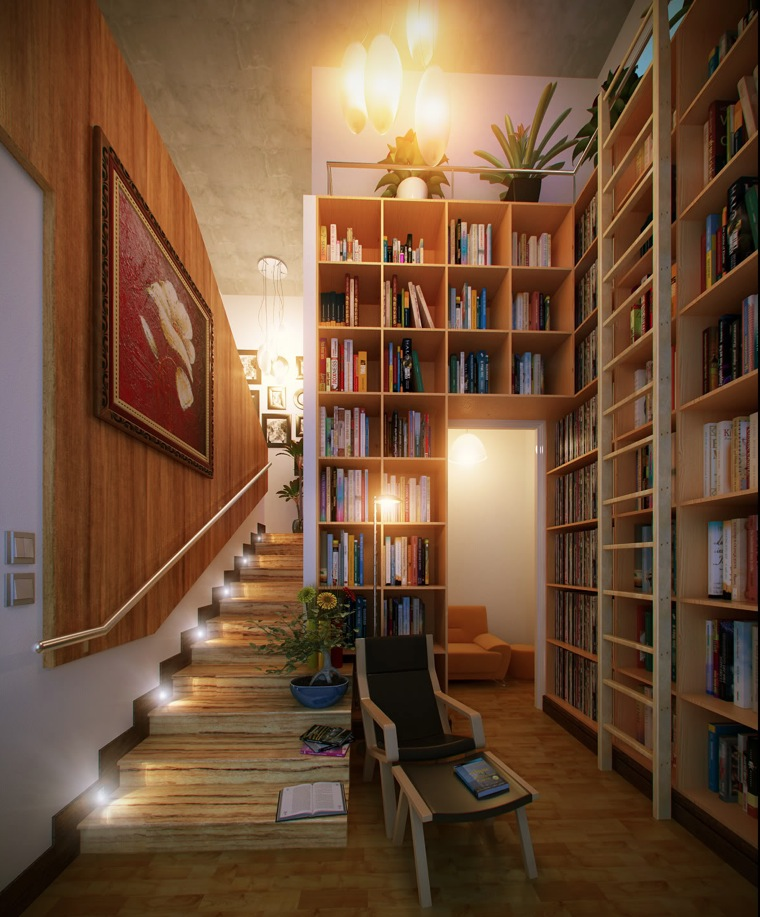 16 stair led home library interior design ideas
