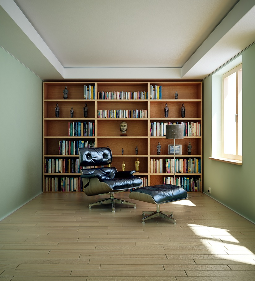 17 Masculine Home Library Render Interior Design Ideas