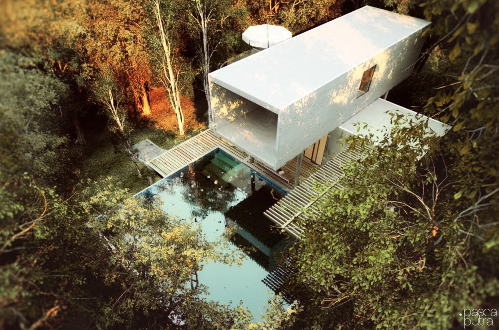Contemporary exteriors in nature visualized for Architecture et nature