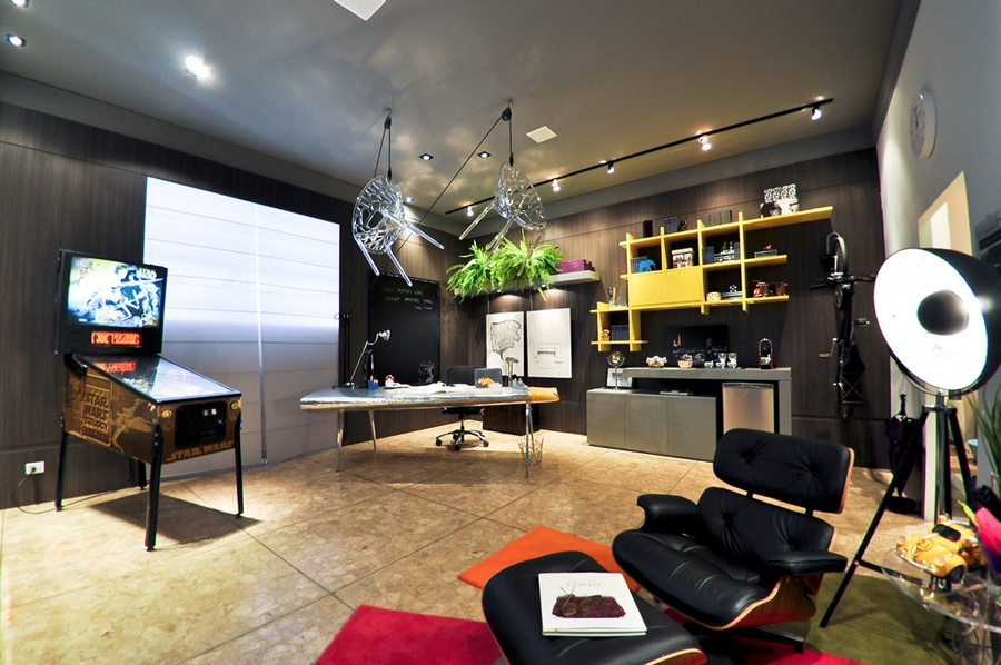 Modern Black House Bright Accents Bright Modern Quirky Decor Home Office Interior Design Ideas