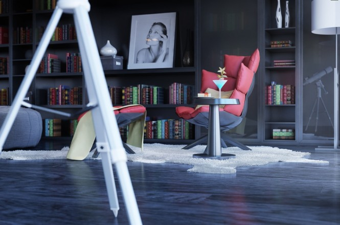 2 gray red reading corner modern chair