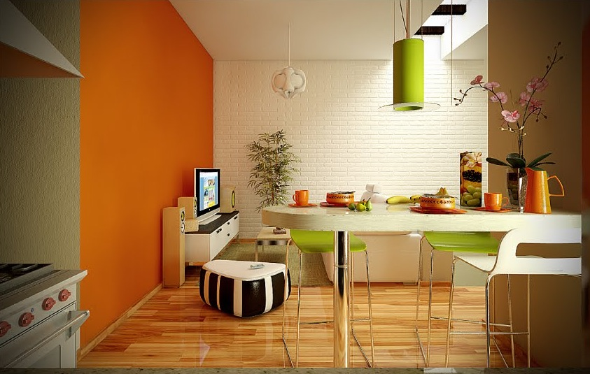 2 orange lime green white dining living room interior