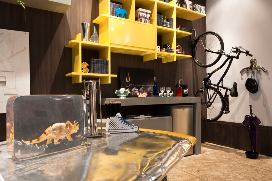 3 Brown Yellow Decor Metal Desk Interior Design Ideas