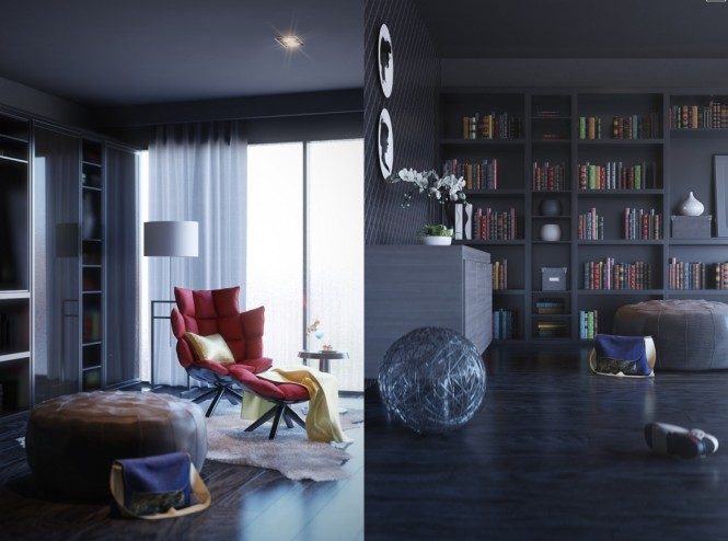 3 contemporary home library