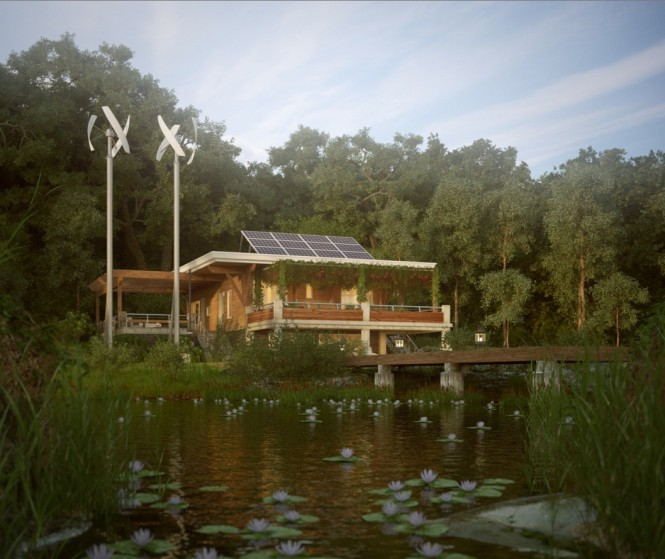 Other structures are in a more obvious empathy with their surroundings, not particularly in shape, but with obvious signs of green energy usage such as solar panels and wind turbines to provide power to the house with minimal detriment to the Earth.