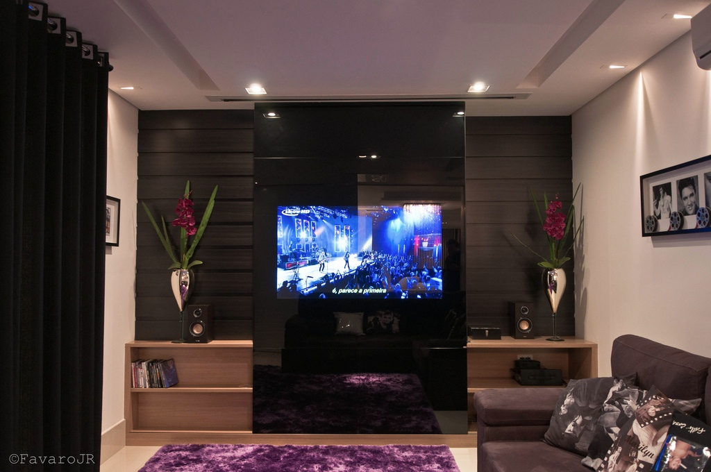 Wall Designs For Tv Room : Black white purple living room glass tv wall interior