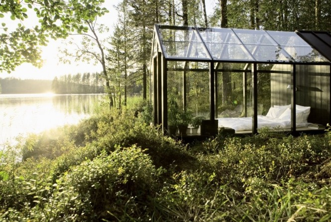 This Garden Shed by Helsinki architect Ville Hara has been used as an extra bedroom at designer Linda Bergroth's summer cottage. We hope that Linda holidays in a very secluded spot otherwise bed head and pillow drool will become a very public problem.