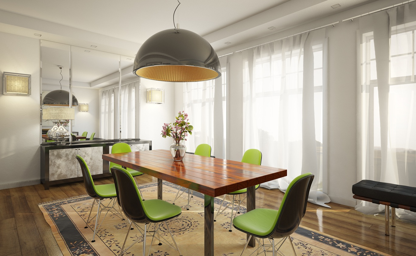 5 lime green chairs white dining room interior design ideas