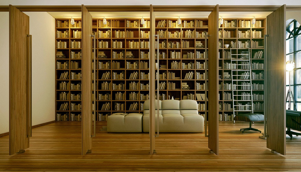 6 modern home library render interior design ideas for Home library designs interior design
