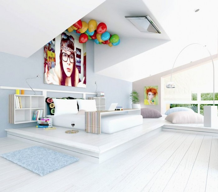This party never sleeps design will have you staring at the ceiling but certainly not with boredom! If it wasn't the TV on the ceiling, the balloons certainly ensured this concept's place in this list.