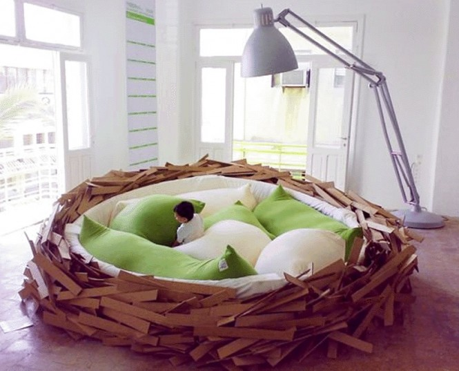 This nest bed is the perfect place to 'lay' your head for the night, or for 'hatching' new ideas, or lounging with your laptop and 'Tweeting', but remember the 'early bird catches the worm!' Ok, enough yolks…