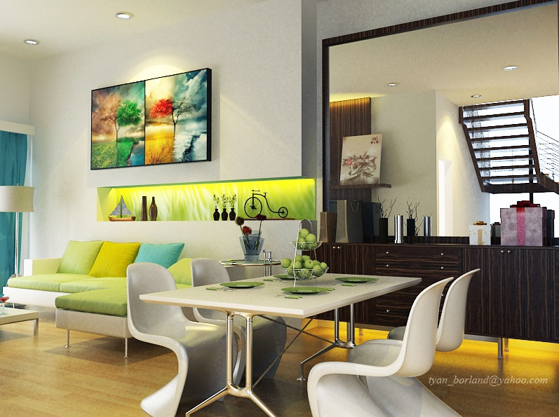 Turquoise and lime green living room home ideas designs for Modern living room green