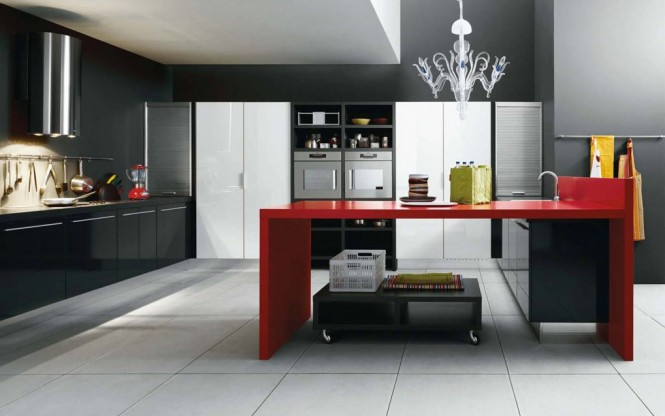 Black red white modern kitchen