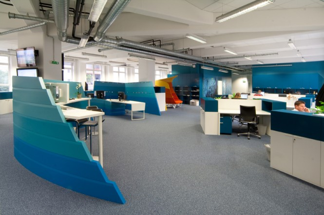 Blue Curved Office Desk Dividers
