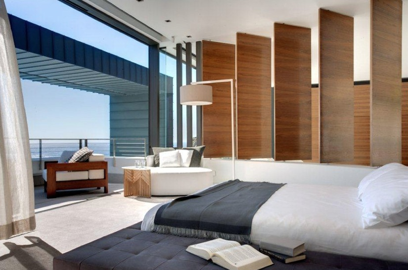Contemporary neutral bedroom with balcony interior for Balcony interior design