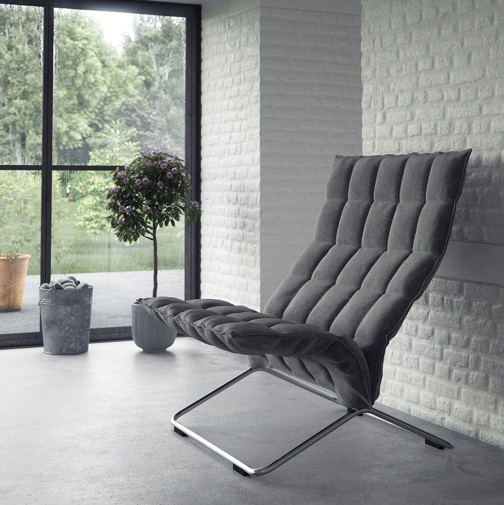 Gray feature chair white interior brick wall interior Grey interior walls