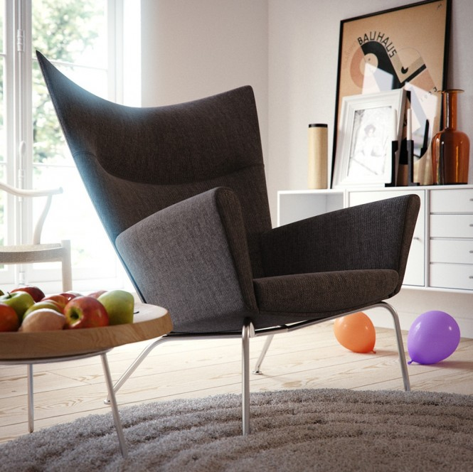Gray white living room modern chair