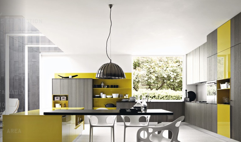 Modern kitchens from cesar for Yellow and gray kitchen