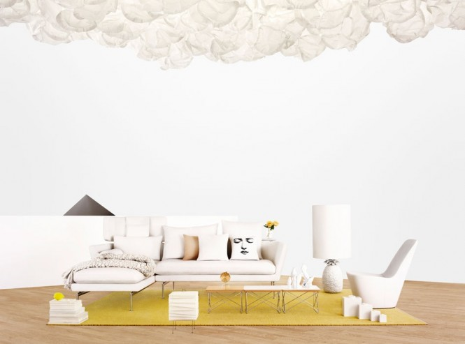 Modern living room suite white sofa chaise