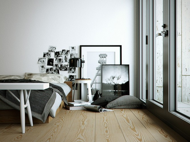 We see a moody monochrome bedroom given edge with displays of black and white photography, whilst another has a wall clad with gray wood paneling to take the edge of the starkness and bring added depth to the scheme. Wood grain is used faithfully throughout the portfolio, and breaths life and familiarity into these modern minimalist interior designs.