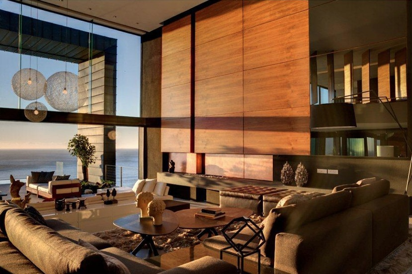 Neutral wood panel living room sea view interior design ideas - Woodwork design for living room ...