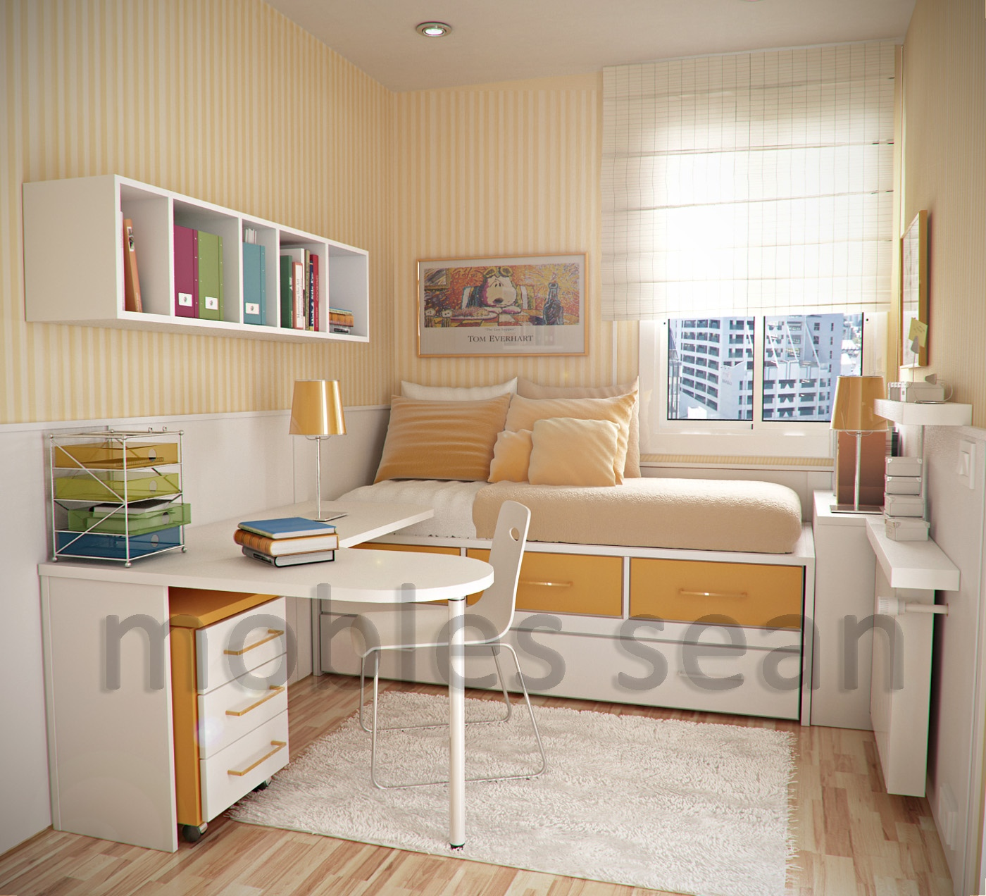 Orange White Small Kids Room