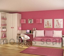 Pink white kids room