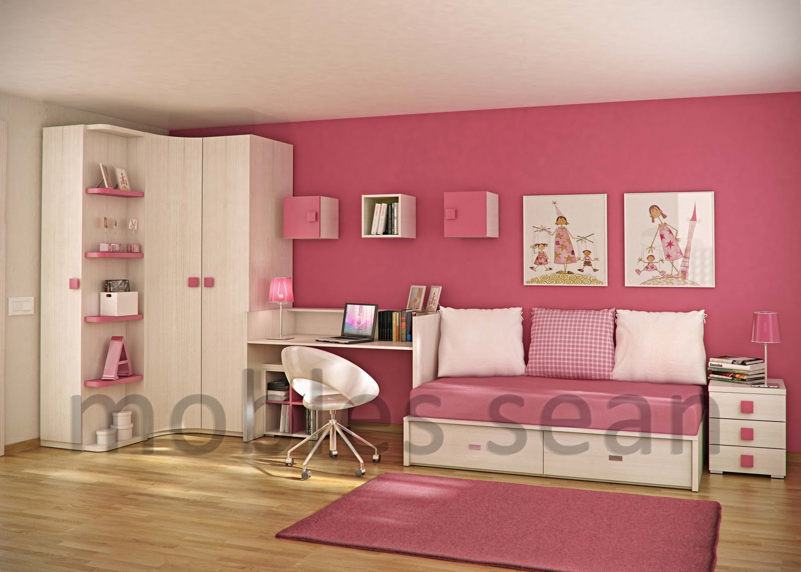 Space saving designs for small kids rooms - Pink and white teenage room ...