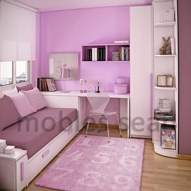 Pink white small kids room