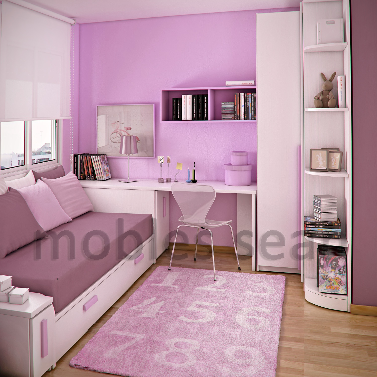 Space saving designs for small kids rooms - Medium size room decoration for girls ...