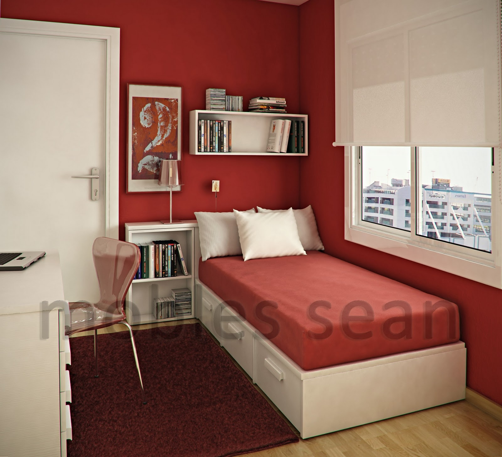 Space saving designs for small kids rooms - Red bedroom decorating ideas ...