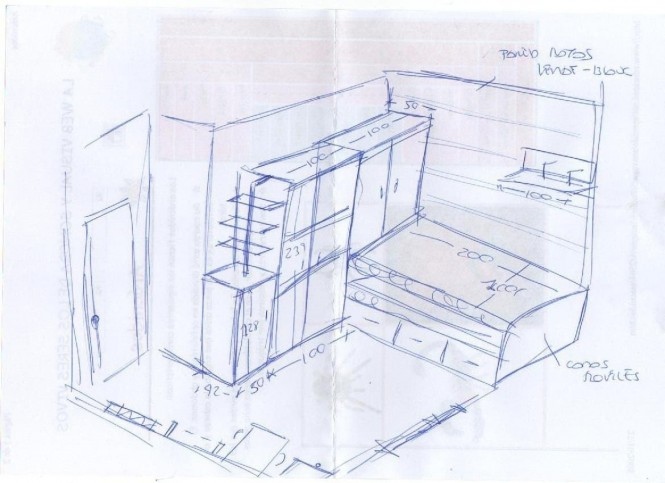 It is fascinating to watch the workflow of a designer. In this sketch, see how Sergi drafts the layout for a room which he renders out below.
