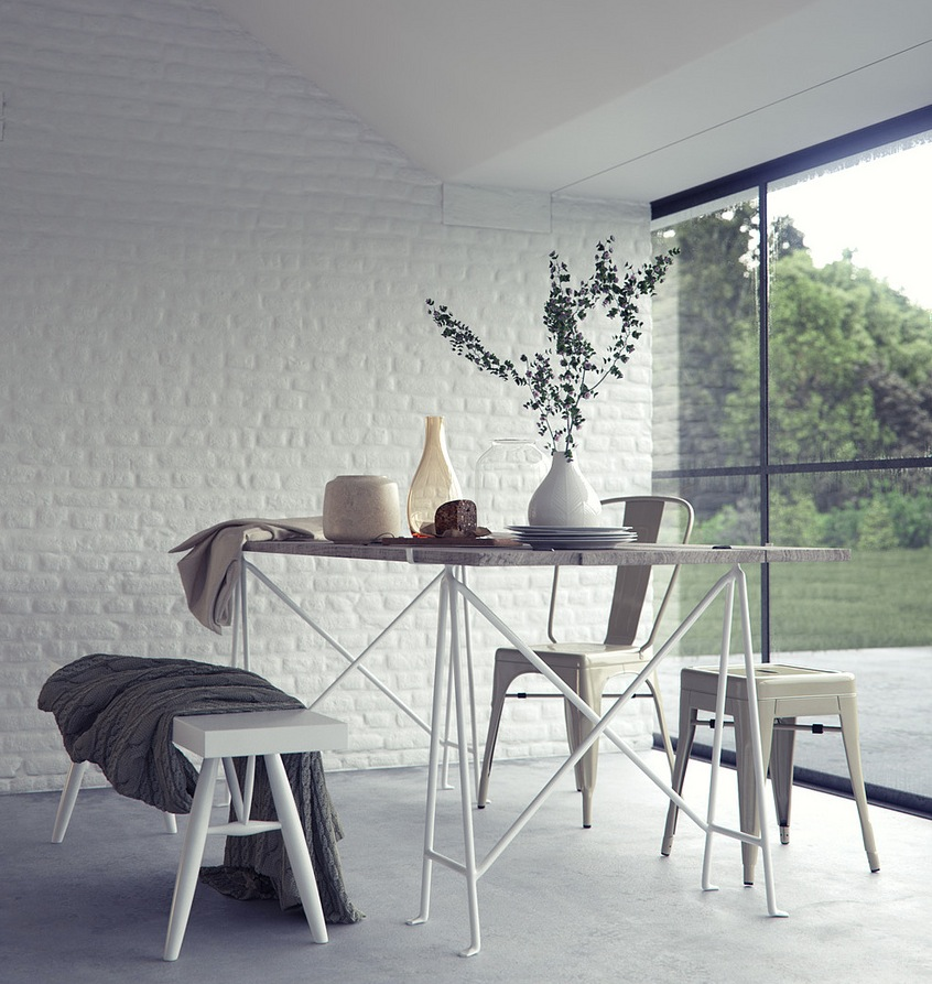 Exquisite interior renders by bbb for White exposed brick wall